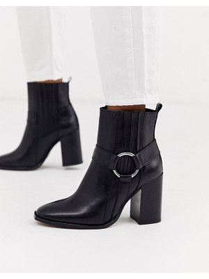 DEPP black leather heeled ankle boots with harness detail