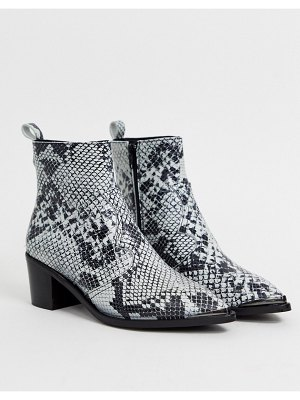 DEPP snake effect western boots with silver toe caps-multi