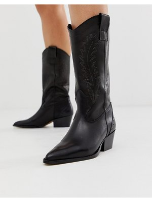 DEPP tall leather western boot in black-tan