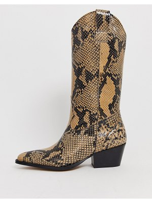 DEPP tall leather western boot in snake-multi