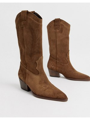 DEPP tan suede knee high western boots