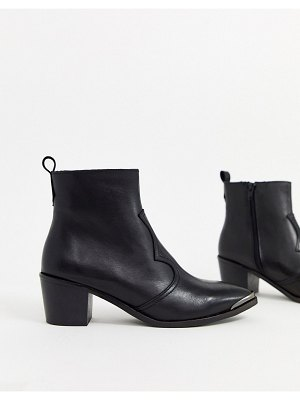 DEPP western boots with silver toe caps in black leather