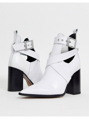 DEPP white leather cut out heeled ankle boots