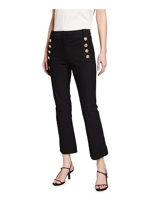 DEREK LAM 10 CROSBY Cropped Flare Trousers w/ Sailor Buttons