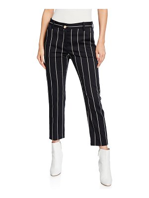 DEREK LAM 10 CROSBY Cropped Straight-Leg Striped Trousers