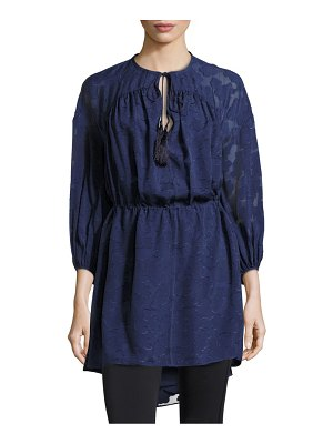 DEREK LAM 10 CROSBY Lace Sleeved Front Tie Dress