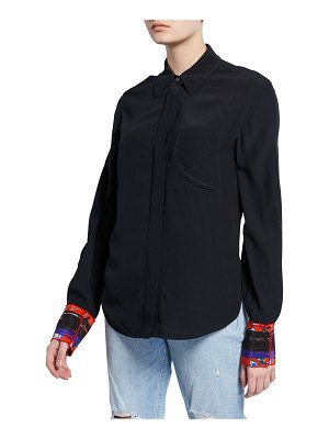 DEREK LAM 10 CROSBY Long-Sleeve Button-Down Shirt with Contrast Back