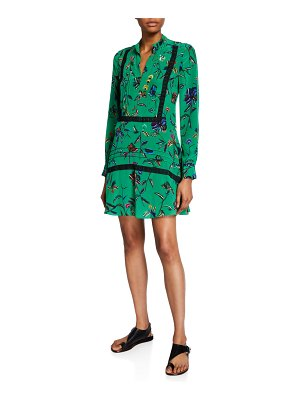 DEREK LAM 10 CROSBY Long-Sleeve Printed Half-Placket Shirt Dress