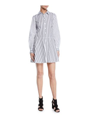 DEREK LAM 10 CROSBY Long-Sleeve Striped Cotton Shirt Dress