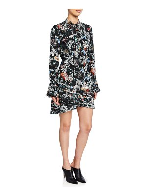 DEREK LAM 10 CROSBY Printed Tie-Neck Long-Sleeve Dress