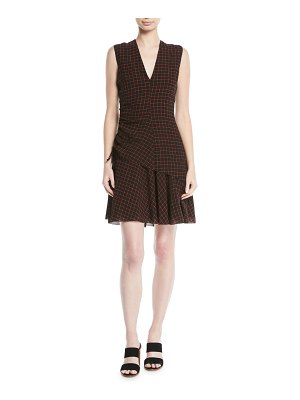 DEREK LAM 10 CROSBY Ruched Check Flounce Mini Dress