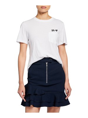 DEREK LAM 10 CROSBY Short-Sleeve Crewneck Tee with Eye Embroidery