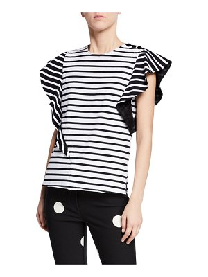 DEREK LAM 10 CROSBY Stripe Top w/ Ruffle Sleeves