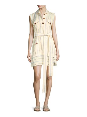 DEREK LAM 10 CROSBY Striped Belted Shirtdress