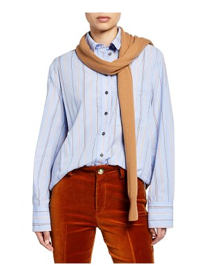 DEREK LAM 10 CROSBY Striped Long-Sleeve Button-Down Shirt with Knit Combo