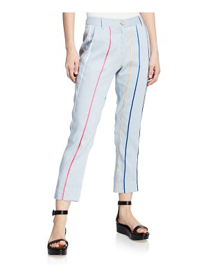 DEREK LAM 10 CROSBY Striped Tapered Cropped Trouser