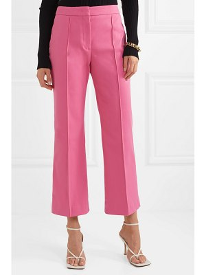 Derek Lam cropped pintucked stretch-cotton twill flared pants
