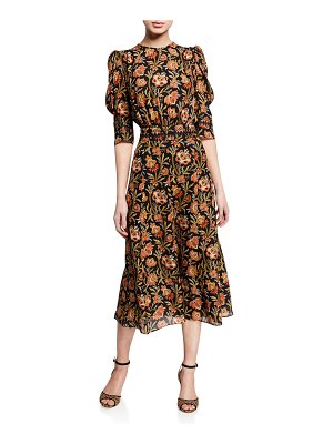 Derek Lam Indian Floral Puff Sleeve Dress