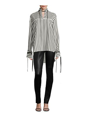 Derek Lam striped silk mandarin-collar top