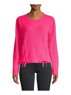 Design History Ribbed Lace-Up Pullover Sweater