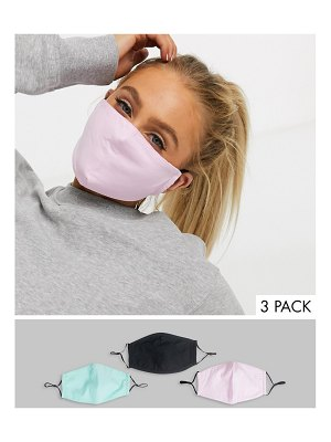 DesignB London exclusive 3 pack face covering with adjustable straps in pink