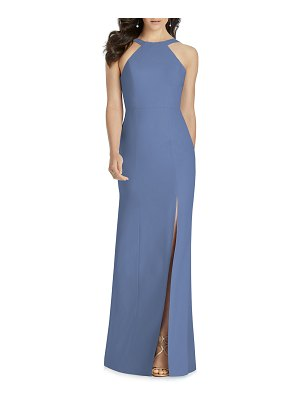 Dessy Collection Column Halter Gown with Slit