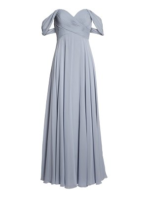 Dessy Collection lux off the shoulder chiffon gown