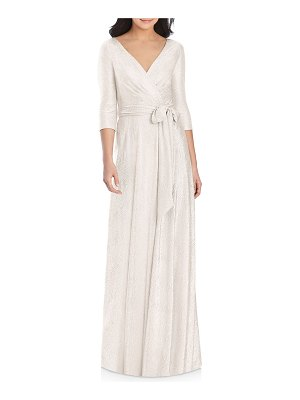 Dessy Collection Metallic 3/4-Sleeve Wrap Gown