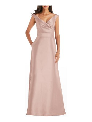 Dessy Collection Off-Shoulder Draped Satin Gown