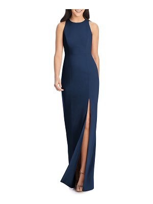 Dessy Collection Open-Back Sleeveless Crepe Column Gown w/ Slit