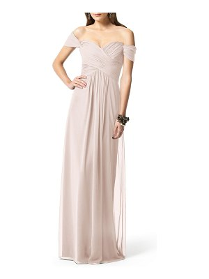 Dessy Collection off the shoulder chiffon a-line gown