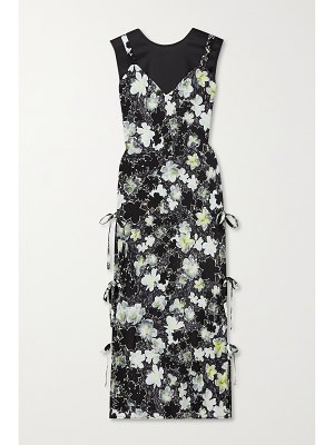 Deveaux cecil layered floral-print silk crepe de chine and hammered-satin midi dress