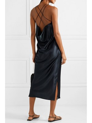 Deveaux draped hammered-satin midi dress