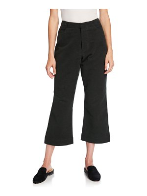 Deveaux New York Cropped Flare-Leg Brushed Moleskin Pants