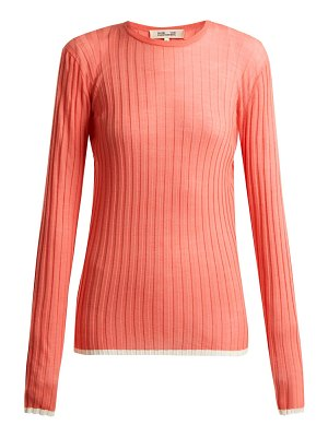 Diane von Furstenberg Contrasting Trim Ribbed Knit Wool Blend Top