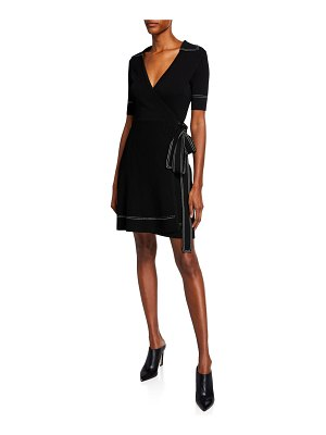 Diane von Furstenberg Liv Short-Sleeve Wrap Dress w/ Topstitching