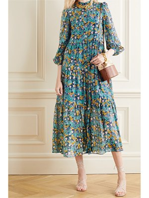 Diane von Furstenberg nea tiered floral-print cotton and silk-blend midi dress