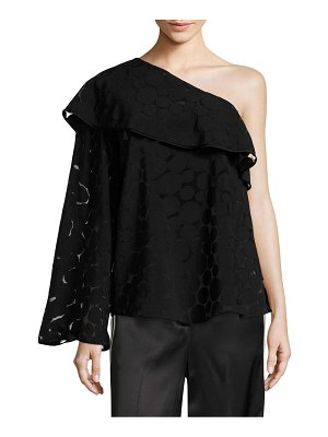 Diane von Furstenberg One-Shoulder Ruffle Front Top