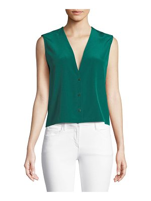 Diane von Furstenberg Sleeveless Silk Button-Up Top