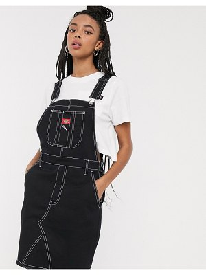 Dickies Girl overall dress with contrast stitching-black