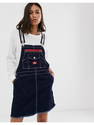 Dickies Girl overall dress with logo taping-blue