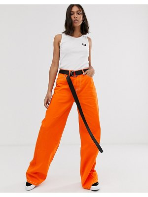 Dickies Girl wide leg skater pants with contrast stitching-orange