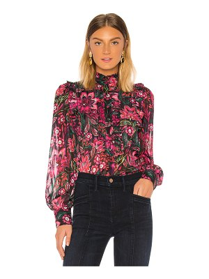 Divine Heritage bib front ruffle blouse