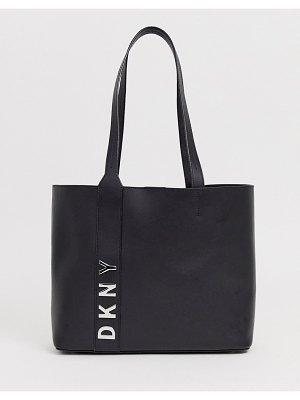 DKNY leather tote with strap logo detail