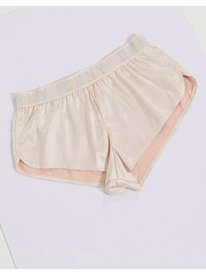 DKNY silky logo shorts in pink and silver-multi