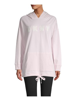 DKNY Sport Embroidered Logo Stretch-Cotton Hoodie