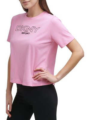 DKNY Sport ombre logo boxy crop graphic tee
