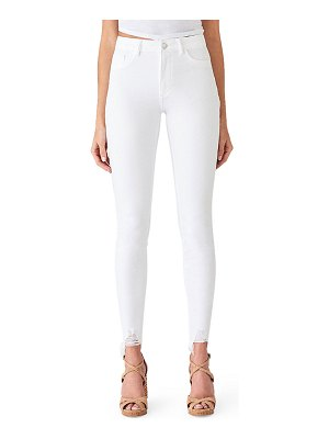DL 1961 Chrissy Ultra High-Rise Skinny Jeans w/ Shredded Hem