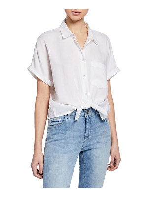 DL 1961 Christy Button-Down Short-Sleeve Tie-Front Top