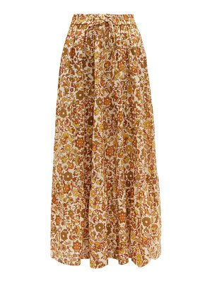 Dodo Bar Or batira tiered floral print cotton maxi skirt